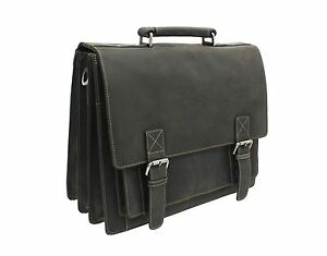 Visconti Hercules Large Oiled Leather Briefcase With Grab Handle 16055
