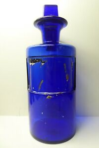 ANTIQUE COBALT BLUE GLASS MEDICAL CHEMIST BOTTLE APOTHECARY PHARMACY MEDICINE