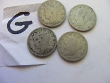 Lot of 4 USA  Liberty Nickels(V-Nickels),Dates 1904..1905..1911....1912..(G).