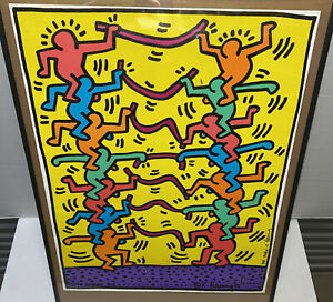 Vintage KEITH HARING Hand Signed 1985Emporium Capwell POSTERRare