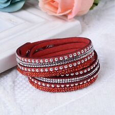 Made With Swarovski Elements Suede Double Strap Bracelet Red