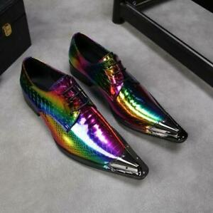 Mens Real Leather Fashion Shoes Shiny Metal Pointy Toe Party Wedding Business Sz