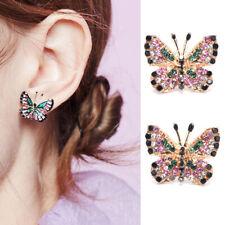Fashion Women Colorful Crystal Butterfly Drop Dangle Earrings Statement Jewel_