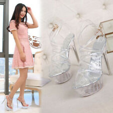 Women PVC Platform Gladiator Sandals Ankle Strap High Heels Stiletto Wedge Shoes