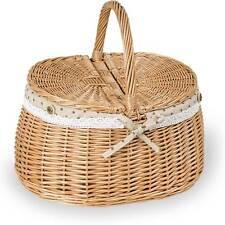 Einkaufskorb groß - Weidenkorb Zweideckelkorb Handkorb oval Stoffbezug natur (38