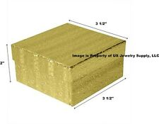 """Wholesale 200 Gold Cotton Fill Jewelry Packaging Gift Boxes 3 1/2"""" x 3 1/2"""" x 2"""""""