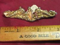 WWII OFFICER'S SUBMARINE BADGE! U.S. NAVY! GOLD PLATED STERLING! VERY RARE BADGE