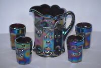 Vintage Mosser Glass Amethyst Carnival Cherry Child's Pitcher and 4 Tumblers