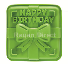 Happy Birthday Green Silicone Cake Mold Tray Square Mould Bakeware FDA Approved