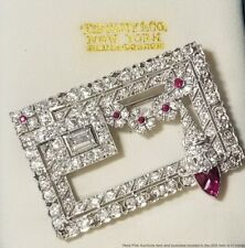 Platinum 4.5ctw Fine Diamond Natural Ruby Art Deco 1930s Numbered Brooch Pin