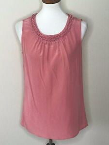 Talbots Size 8 Pink Sleeveless Women's Top Shirt 100% Silk