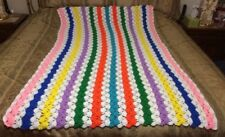 "Vintage Hand Crocheted Blanket Afghan Throw 72"" X 41"" Bright Colorful Stripes"