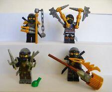 4x Lego Figuren Ninjago Cole Waffen Waffe Haare Helm Maske Ninja Schwarz Figur