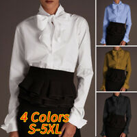 Women Long Sleeve Bow Knot Neck Shirt Casual Plain Tops Buttons Blouse Loose Tee