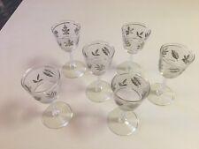 "LIBBEY ROCK SHARPE SILVER LEAF WINE GLASS - 5-3/4"" - 6 TOTAL"