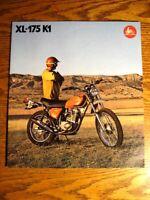 1974 Honda KL-175 K1 Dual Sport Motorcycle Brochure, Xlnt Original