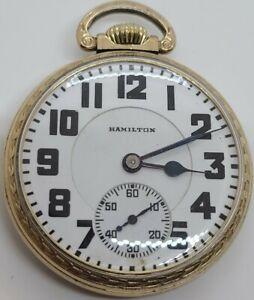 Antique 1928 HAMILTON 21J Railroad Grade 992 10K R.G.P. Gold RR Pocket Watch 16s