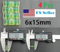 4 PCs Acrylic Tube Bubble Spirit Level Vial Measuring Instrument D 6mm L 15mm