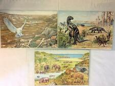 """6 DINOSAUR & ICE AGE CARDS 9""""x 6"""" BRITISH MUSEUM of NATURAL HISTORY 1985 ENGLAND"""
