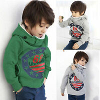 Kids Boys Winter Hoodies Hooded Sweatshirts Jumper Pullover Clothes Tops Warmer