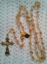ICED SUN TEA CRYSTAL ROSARY -18K GOLD PLATED MADE IN THE CZECH REPUBLIC