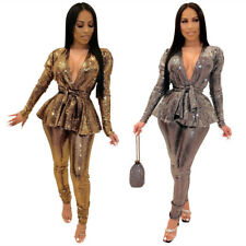Hot Sale Women's Fashion Hot Stamping Long Sleeves V Neck Club Party Pants Set