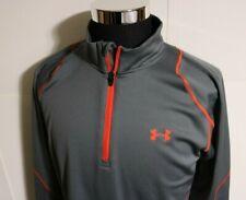 Mens UNDER ARMOUR Coldgear Infrared Gray Orange Fleece 1/4 Zip Top Jacket XL