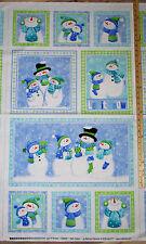 "Let it Snow FLANNEL Snowman Family Norhcott Fabric Panel  23""   #F20555"