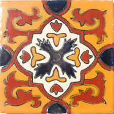 #C026) Mexican Tile sample Ceramic Handmade 4x4 inch, GET MANY AS YOU NEED !!