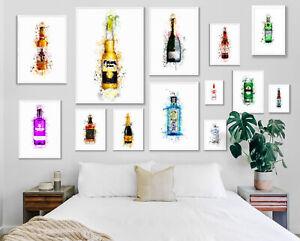 Watercolour Paint Splash Prints Wall Art A4 A3 A2 A1 Maxi Alcohol Spirits Beer