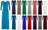 New Womens Ladies Plain Color Long Sleeve Flare Maxi Jersey Dress Abaya S-XXL