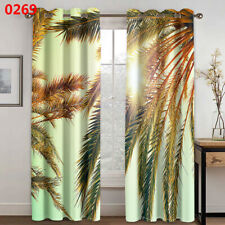 3D Sunshine Scenery Window Curtain Coconut Tree Curtains Living Room Drapes