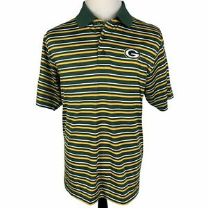 Green Bay Packers Polo Golf Shirt Large Green Yellow White Striped Cool Base