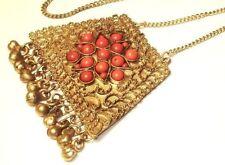 "Nepal Tribal Pendant 30"" Necklace Coral Glass Cabochon Stones-Hare Krishna!"