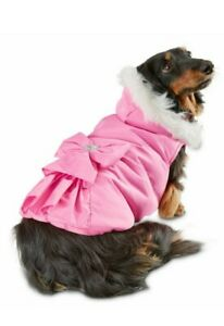 Pink Ruffle Bow Dog Jacket  M  Smoochie Pooch SimplyShe with Heart Bead & Furr