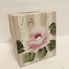 Shabby Cottage Chic Wood Tissue Holder Hand Painted HP Pink Roses