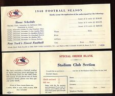 1947 & 1948 New York Yankees Football Season Ticket Order Forms 2 Different