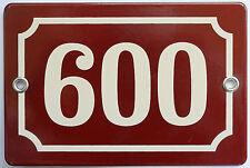 Brown French house number 600 door gate plate plaque enamel steel metal sign