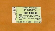 1982 Ted Nugent concert ticket stub West Palm Beach Florida