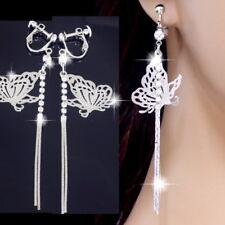 #E954A 8cm Non-pierced CLIP ON screwback Earrings Thin Butterfly Crystal Drop