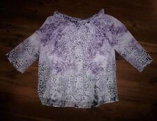 BiBA Bluse Shirt Sommerbluse Blusenshirt Gr. 34 (36) lila weiß grau Carmen