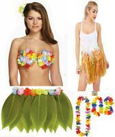 Ladies Fancy Leaf Hula Skirt With Flowers Womens Fancy Hawaiian Party Wear