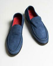 Isaia NIB $695 Blue Suede Leather Slip-On Sneakers Loafers Shoes 39.5 eu 7 US