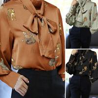 UK Women Leopard Satin Shirt Bow-Tie Blouse Ladies Long Sleeve OL Party Top 8-26