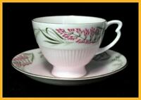 Colclough Pink & Green Cups & Saucers