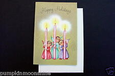 Unused Erica Von Kager Brownie Xmas Greeting Card 3 Angels Holding Pink Candles