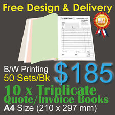 10 X A4 Customised Printed Triplicate Quote / Tax Invoice Books Design&post