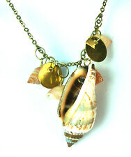 STUNNING ELEGANT SEA SHELL NECKLACE GOLD MULTI STONE FAST DELIVERY NEW (A2)