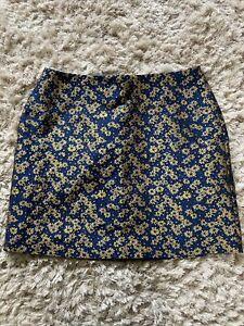 Next Floral Blue/gold Mini Skirt Size 12