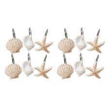 Brand New 12 sea shell//Fish stars shower curtain hooks in Box by creative bath